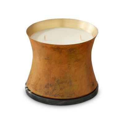 Déco - Bougeoirs, photophores - Bougie parfumée Underground Large / Ø 10 x H 8,3 cm - Tom Dixon - Large / Rouille patinée - Cire végétale, Laiton, Marbre