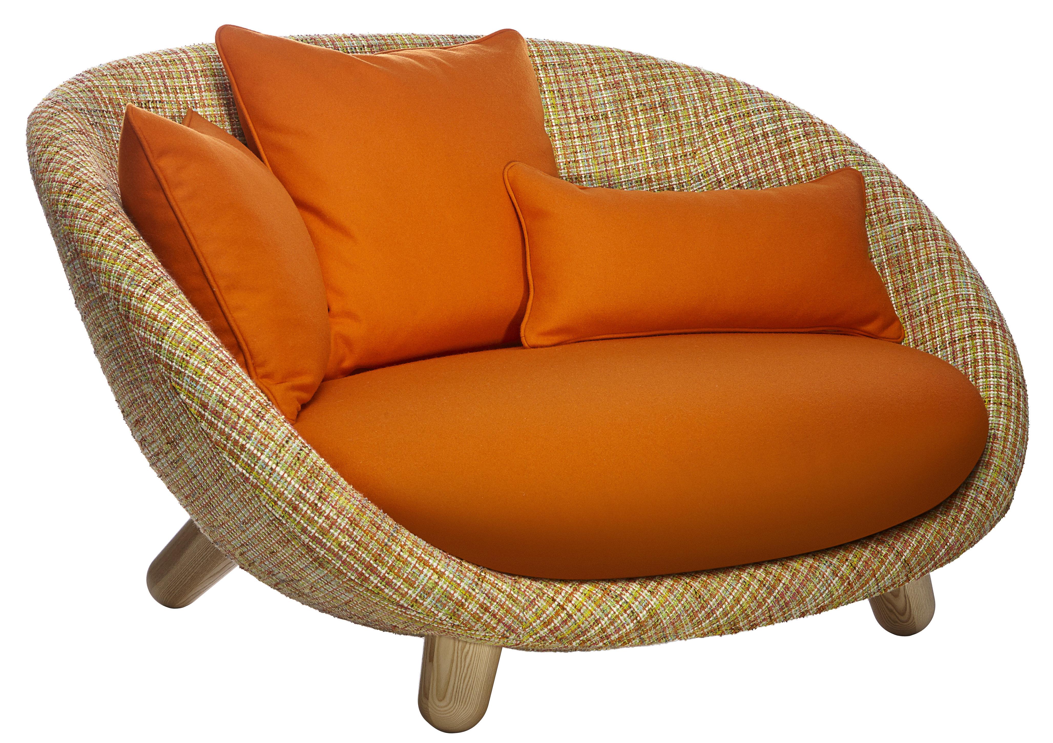 Mobilier - Canapés - Canapé droit Love / 2 places - L 129 cm - Moooi - Multicolore / Coussins orange / Bois clair - Acier, Chêne, Mousse, Tissu