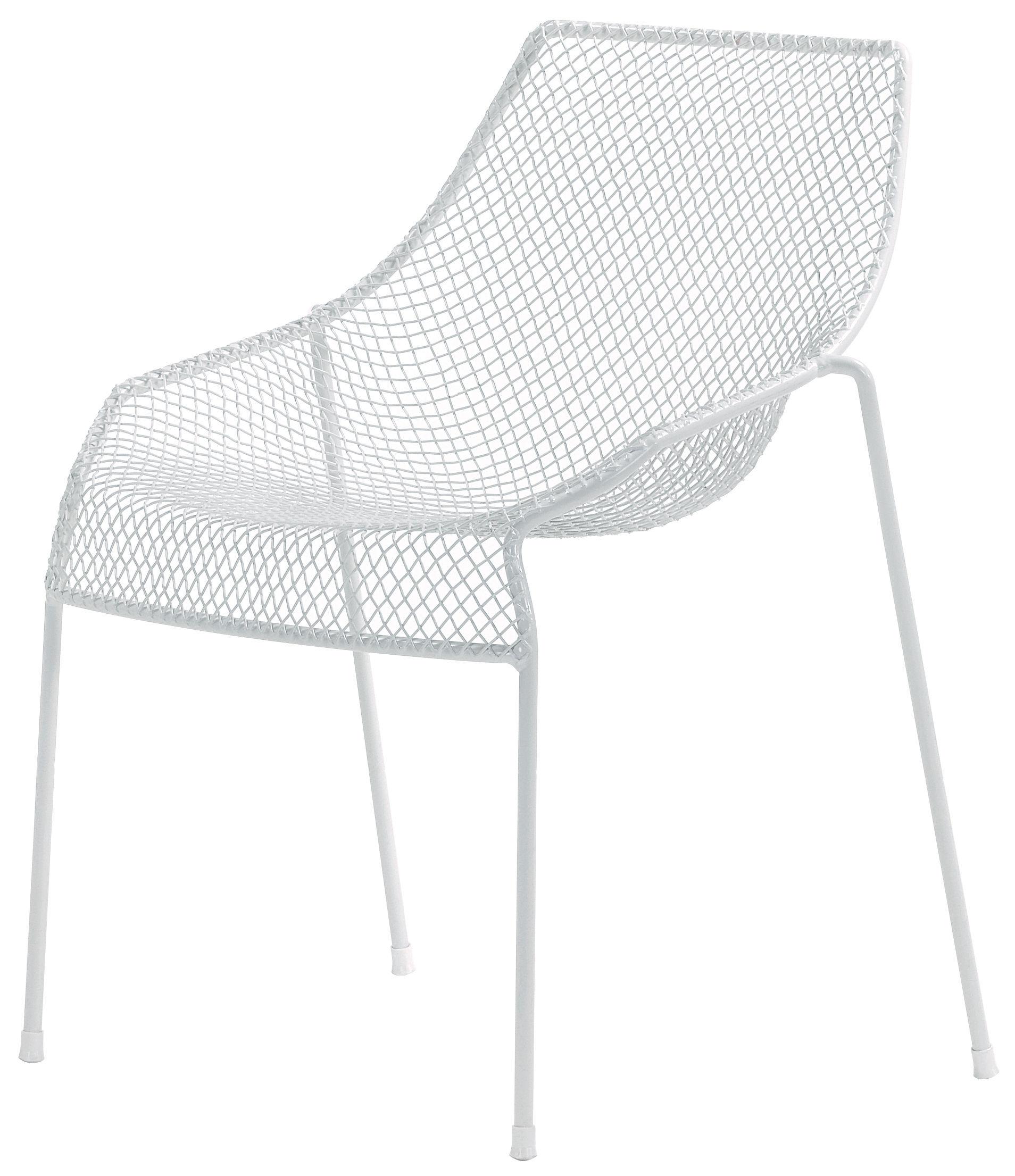 Mobilier - Chaises, fauteuils de salle à manger - Chaise empilable Heaven / Métal - Emu - Blanc mat - Acier