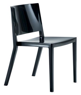 Mobilier - Chaises, fauteuils de salle à manger - Chaise empilable Lizz / Version brillante - Kartell - Noir brillant - Technopolymère