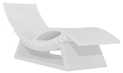 Outdoor - Chaises longues et hamacs - Chaise longue TicTac / Avec table basse - Slide - Blanc - Polyéthylène