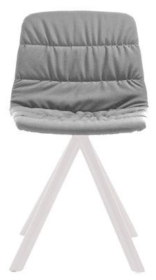 Chaise pivotante Maarten / Rembourrée & pieds métal - Viccarbe blanc,gris clair en tissu