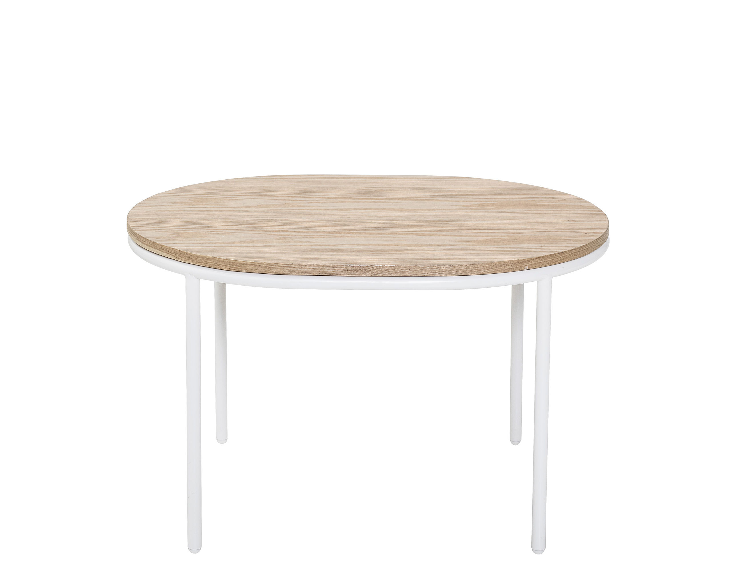 Furniture - Coffee Tables - Coffee table - / Wood - 70 x 55 cm by Bloomingville - Natural oak / White base - Lacquered iron, MDF veneer oak