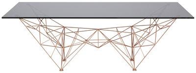 Möbel - Couchtische - Pylon Couchtisch / 135 x 75 cm - Tom Dixon - Kupfer - Acier plaqué cuivre, Glas