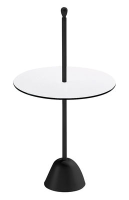 Furniture - Coffee Tables - Servomuto End table by Zanotta - Black - Top white / black - Stratified laminate, Varnished steel