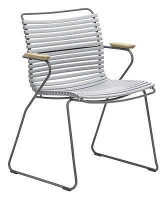 Chaise Click / Plastique & accoudoirs bambou - Houe gris en matière plastique