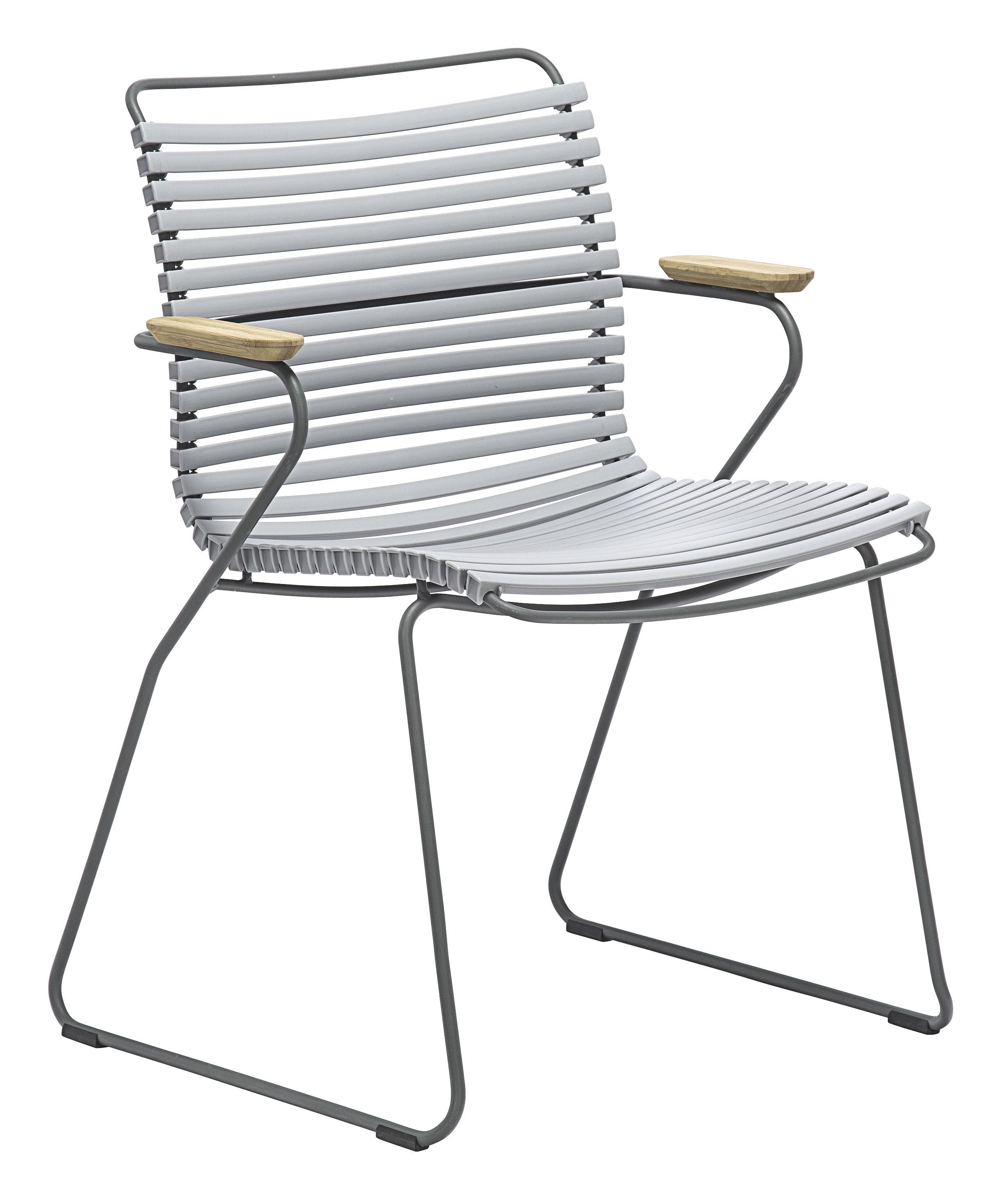 Mobilier - Chaises, fauteuils de salle à manger - Fauteuil Click / Plastique & accoudoirs bambou - Houe - Gris - Bambou, Matière plastique, Métal