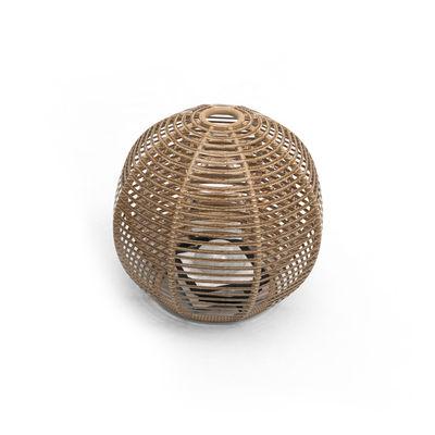 Illuminazione - Lampade da tavolo - Lampada solare La Lampe Paillote Sphere - / Medium Ø 40 cm / Ibrida e connessa (solare + dock USB) di Maiori - Ø 40 cm / Naturale - Alluminio, Fibra sintetica