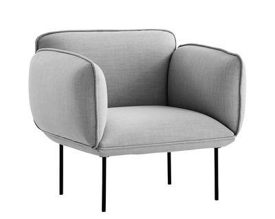 Furniture - Armchairs - Nakki Padded armchair by Woud - Grey - Fibre, High resilience foam, Kvadrat fabric, Metal, Plywood