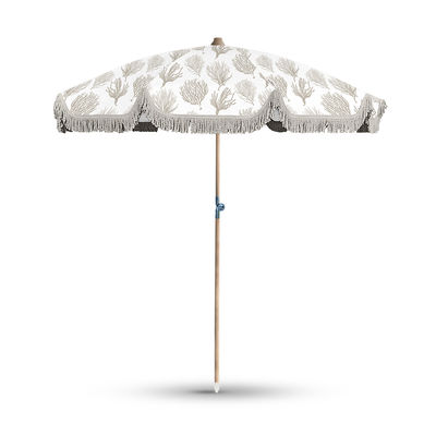 Outdoor - Parasols - Bali Parasol - / Reclining - Ø 200 cm by PÔDEVACHE - Coral / Taupe - Lacquered aluminium, Polyester cloth