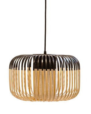 Lighting - Pendant Lighting - Bamboo Light S Pendant - H 23 x Ø 35 cm by Forestier - Black / Natural - Fabric, Metal, Natural bamboo