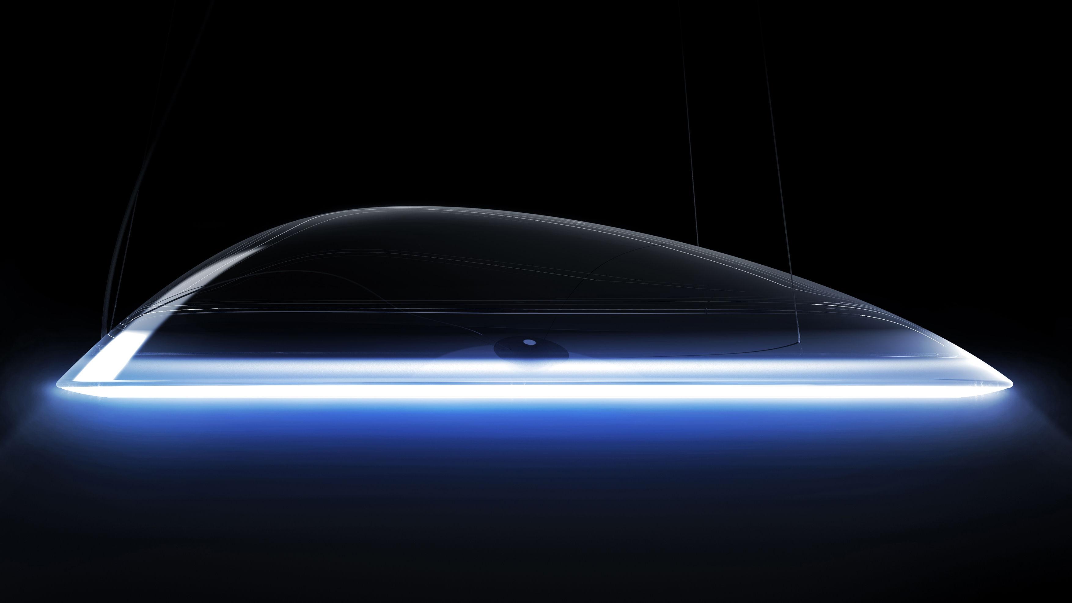 Leuchten - Pendelleuchten - Ameluna LED Bluetooth Pendelleuchte / by Mercedes-Benz - Ø 75 cm - Artemide - Transparent / Aluminiumstreifen - Aluminiumprofil, poliert, PMMA