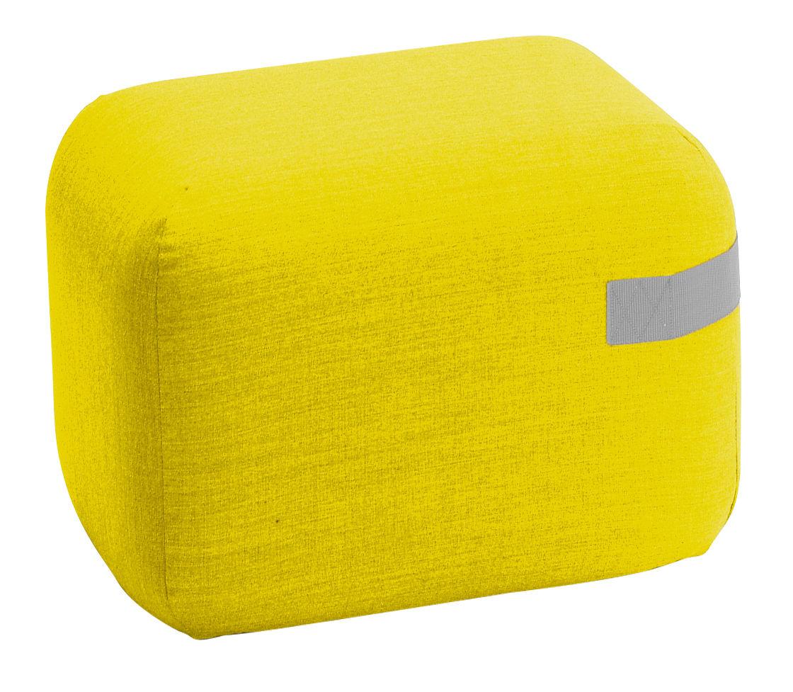 Mobilier - Poufs - Pouf Season mini / Roulettes - 50 x 50 cm - Viccarbe - Jaune / Sangle grise - Bois, Mousse de polyuréthane expansé, Tissu Kvadrat
