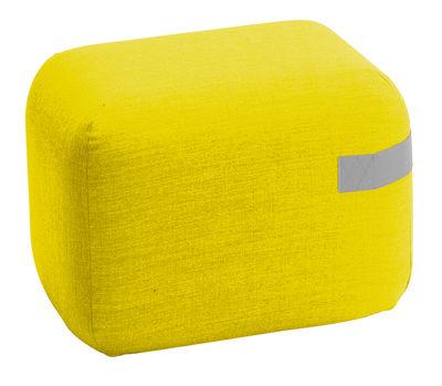 Furniture - Poufs & Floor Cushions - Season mini Pouf - / Casters - 50 x 50 cm by Viccarbe - Yellow / Grey strap - Kvadrat fabric, Mousse de polyuréthane expansé, Wood