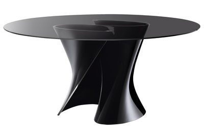 Furniture - Dining Tables - S Round table - Round Ø 140 cm by MDF Italia - Smoked grey  top / Black base - Cristalplant, Soak glass