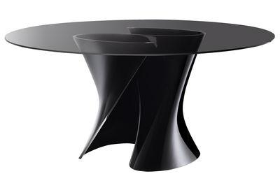 Mobilier - Tables - Table ronde S / Ø 140 cm - Plateau verre - MDF Italia - Gris fumé / Base noire - Cristalplant, Verre trempé