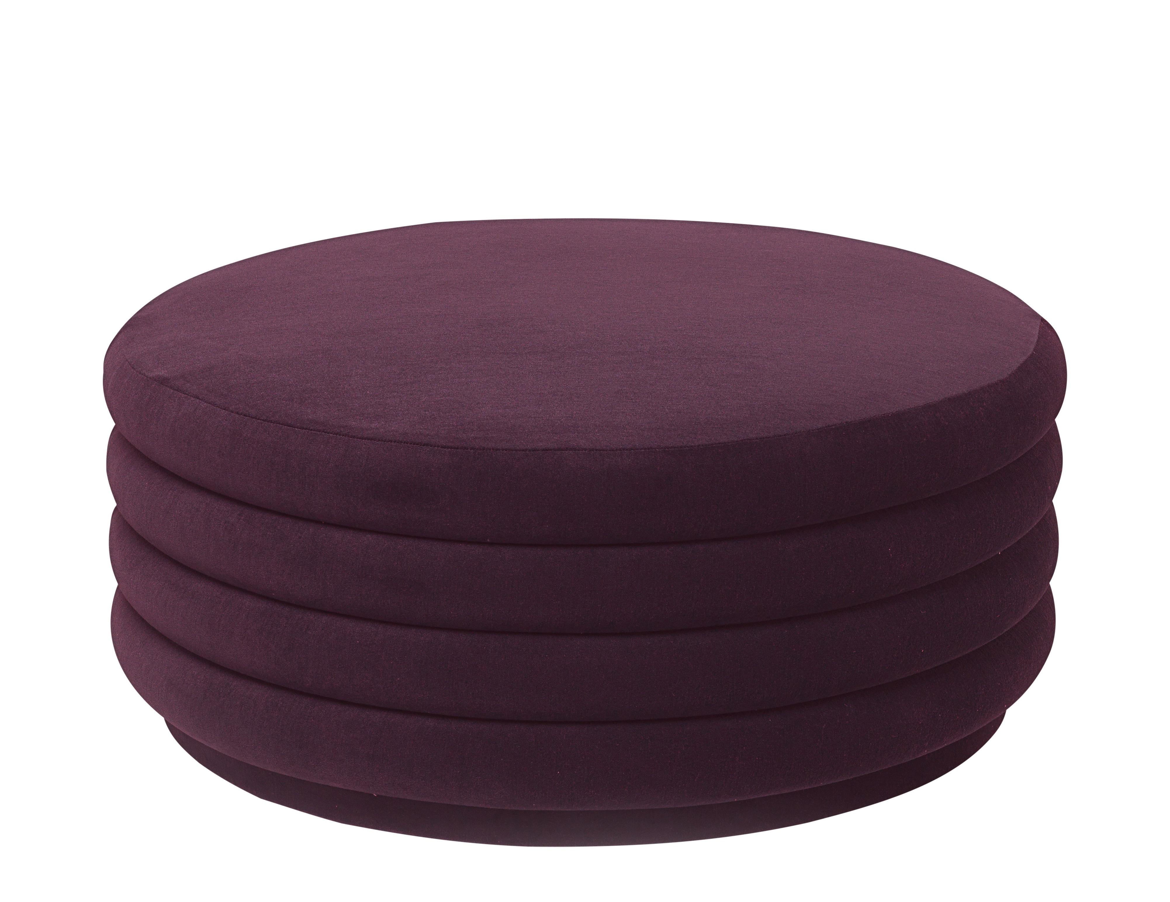 Möbel - Sitzkissen - Round Large Sitzkissen / Ø 90 cm - Velours - Ferm Living - Bordeaux-rot - Holz, Schaumstoff, Velours