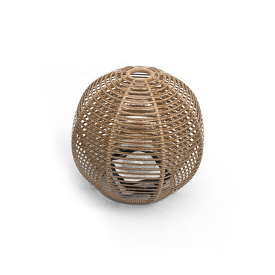 Lighting - Table Lamps - La Lampe Paillote Sphere Solar lamp - / Medium Ø 40 cm / Hybrid and connected (solar + USB dock) by Maiori - Ø 40 cm / Natural - Aluminium, Synthetic fibre