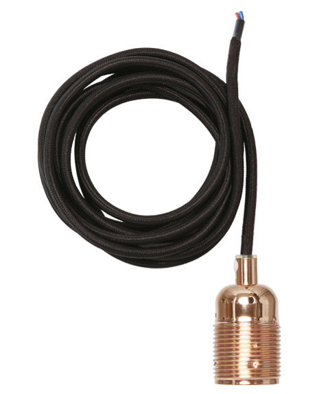 Luminaire - Suspensions - Suspension Frama Kit / Set câble tissu noir & Douille E27 - Frama  - Cuivre / Câble noir - Cuivre, Tissu