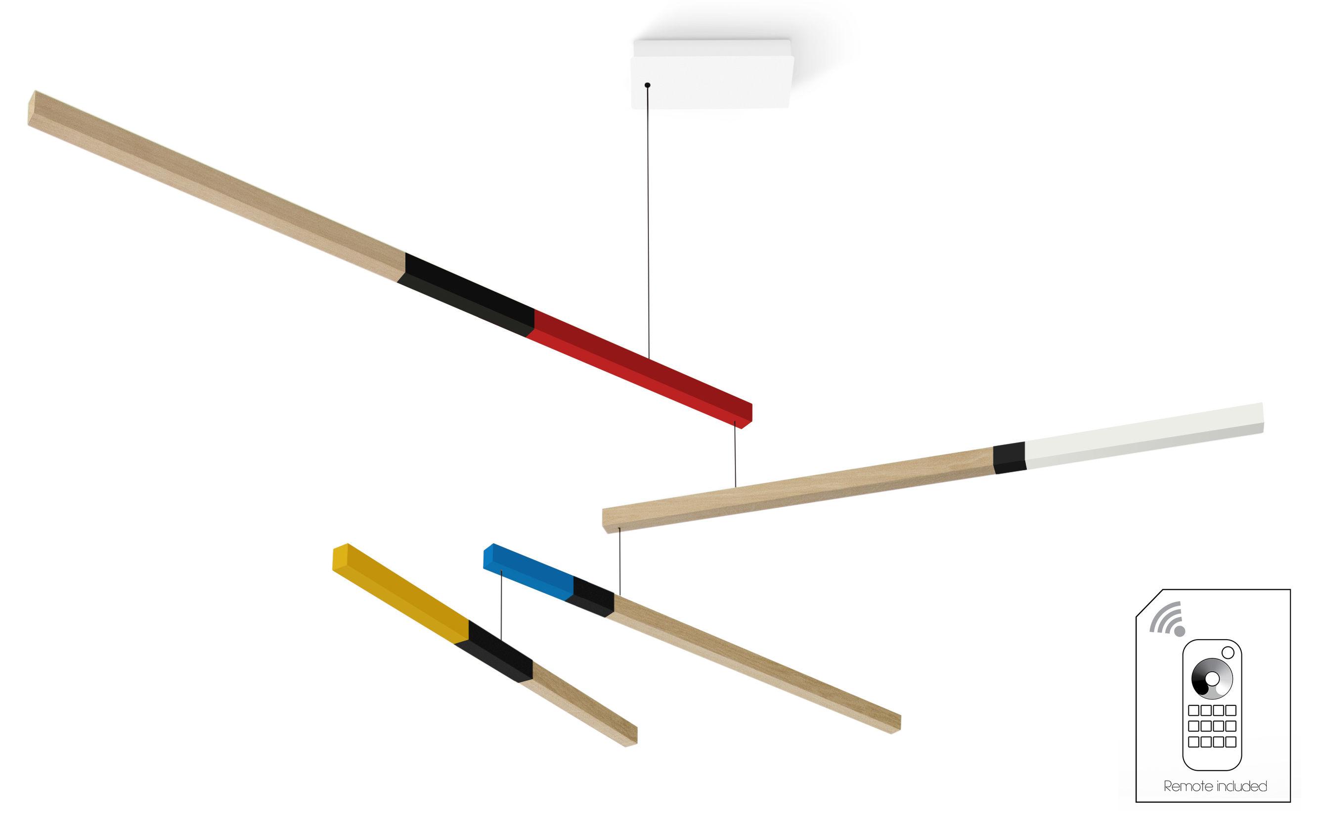 Luminaire - Suspensions - Suspension Tasso Cub Dimmable LED / Chêne - L 155 cm - Presse citron - Jaune, bleu, blanc, rouge, Noir / Bois - Chêne massif peint