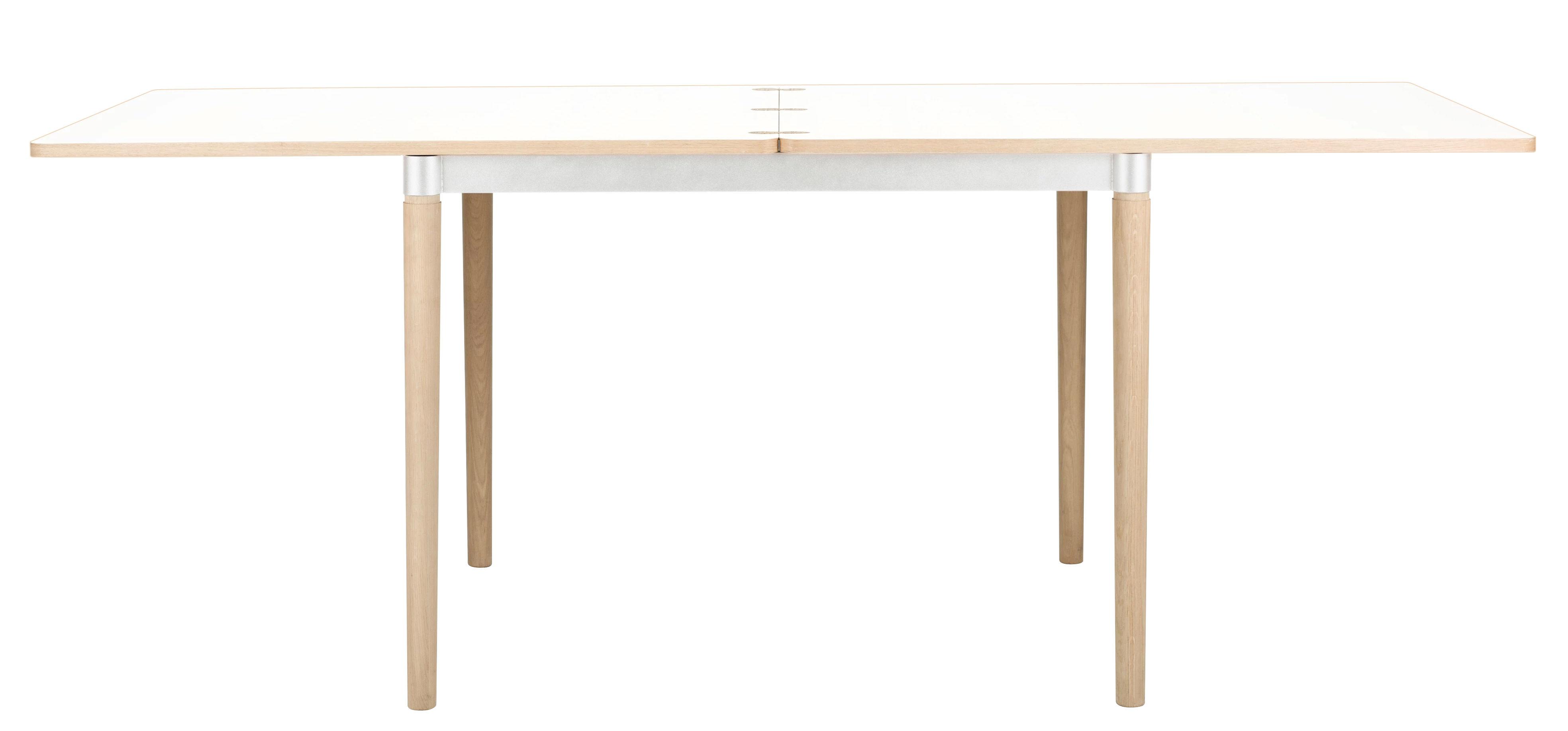 Tendances - Espace Repas - Table à rallonge Double up / L 96 à 192 cm - Bolia - Blanc / Pieds chêne - Acier verni, Chêne massif blanchi, Stratifié