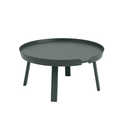 Mobilier - Tables basses - Table basse Around Large / Ø 72 x H 37,5 cm - Muuto - Vert foncé - Frêne teinté
