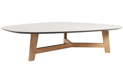 Table basse T-Phoenix / Grand plateau - Pied chêne - Moroso gris en céramique/bois