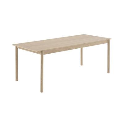 Mobilier - Bureaux - Table rectangulaire Linear WOOD / Bois - 200 x 90 cm - Muuto - Chêne / 200 x 90 cm - Chêne massif, Contreplaqué de chêne