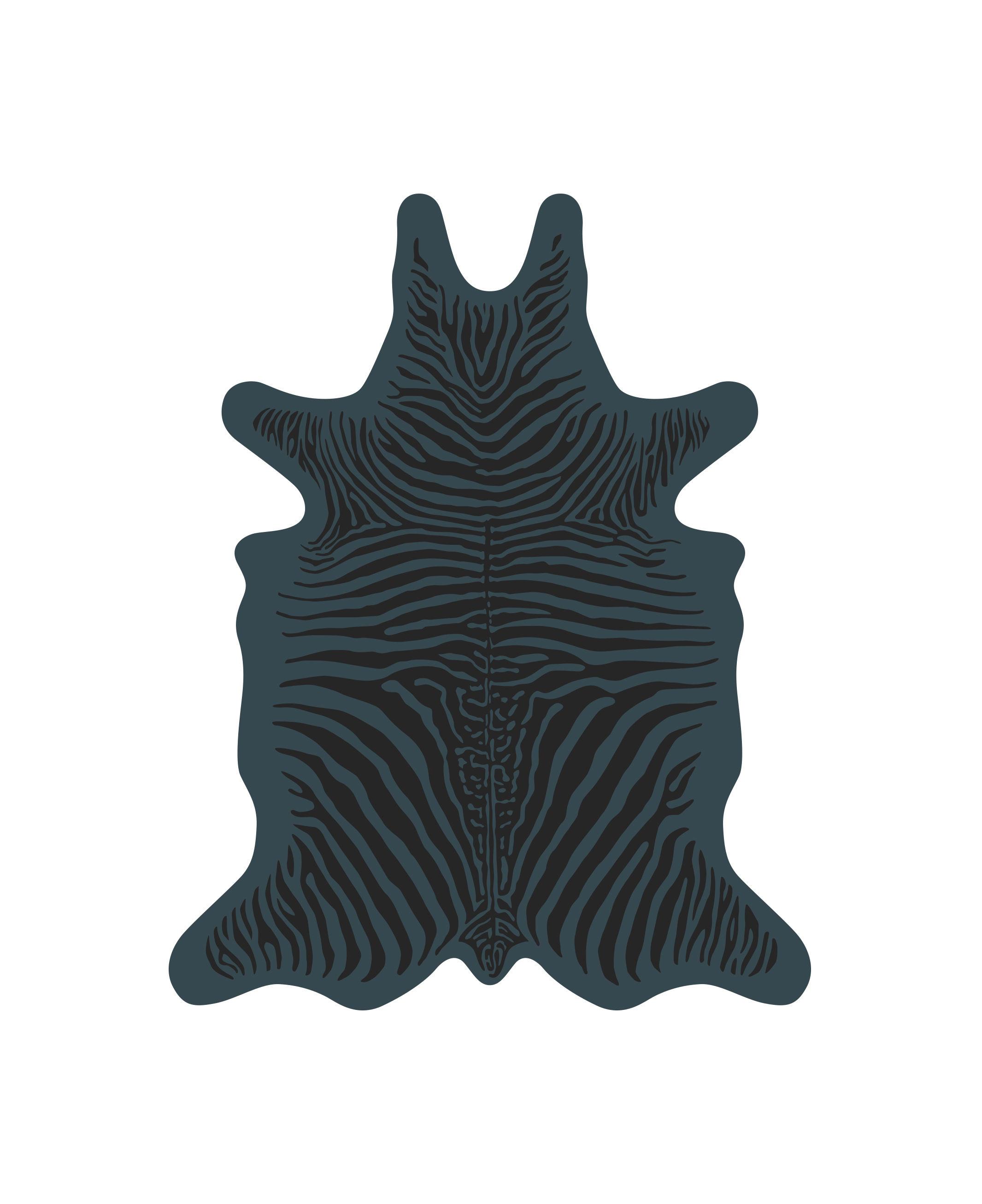 Outdoor - Decorazioni e accessori - Tappeto Zèbre - / 90 x 113 cm - Vinile di PÔDEVACHE - Blu / Righe nere - Vinile