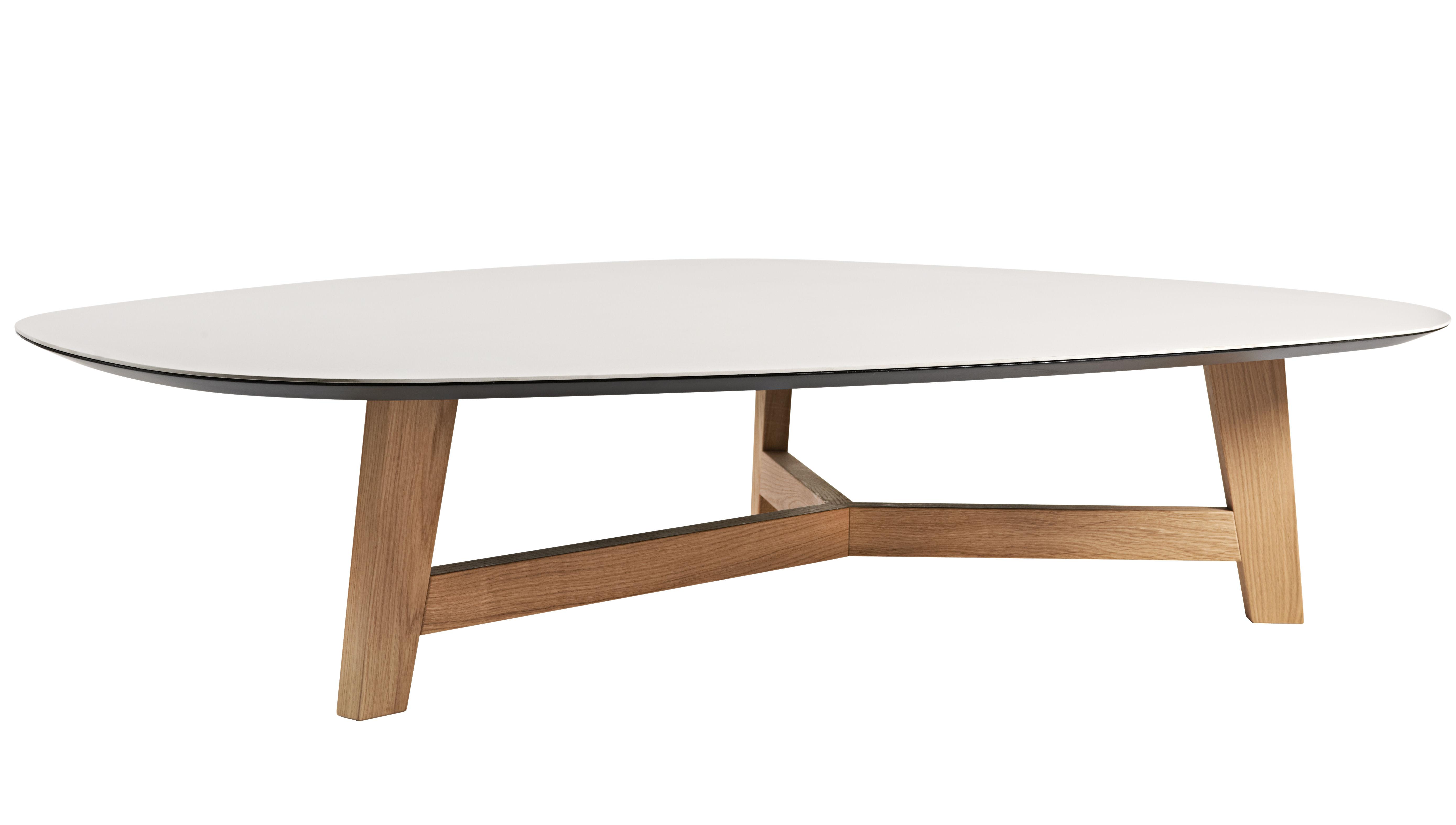 Arredamento - Tavolini  - Tavolino T-Phoenix - / Grande piano - Piede rovere di Moroso - Piano grigio chiaro / Piede rovere naturale - Ceramica, MDF, Rovere naturale