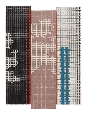 Bandas Teppich / 180 x 250 cm - Gan - Blau,Rosa,Orange,Schwarz