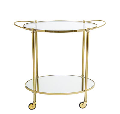Furniture - Miscellaneous furniture - Gold Trolley by Bloomingville - Transparent & gold - Metal, Soak glass