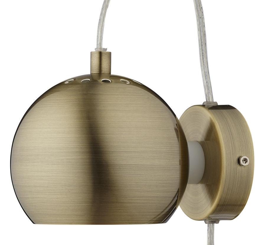 Leuchten - Wandleuchten - Ball Wandleuchte mit Stromkabel / Ø 12 cm - Neuauflage des Originals von 1969 - Frandsen - Messing, matt - bemaltes Metall