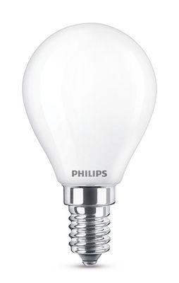 Ampoule LED E14 Sphérique dépolie / 4,3W (40W) - 470 lumen - Philips blanc dépoli en verre