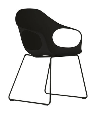 Furniture - Chairs - Elephant Luge Armchair - Plastic shell & metal legs by Kristalia - Black - Lacquered polyurethane