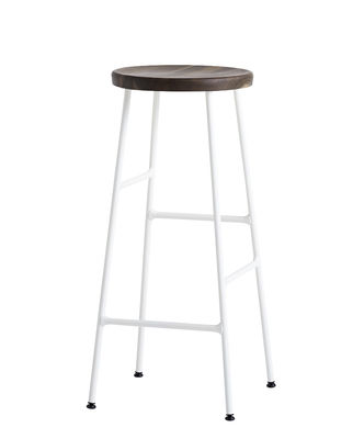 Furniture - Bar Stools - Cornet Bar stool - / H 75 cm by Hay - Smoked oak / White legs - Lacquered steel, Smoked solid oak