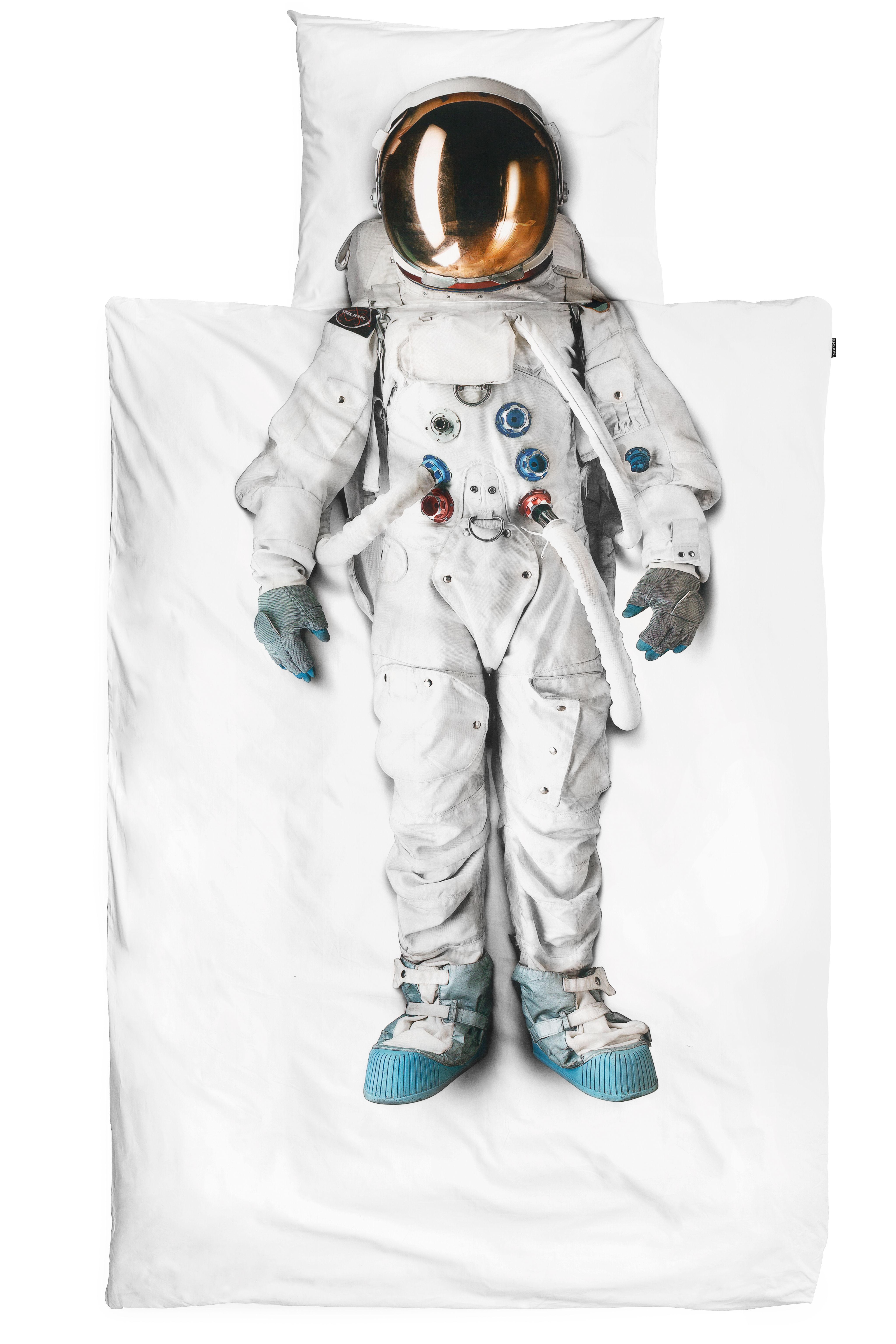 Interni - Per bambini - Biancheria da letto 1 persona Astronaute - / 1 persona - 140 x 200 cm di Snurk - Bianco / Astronauta - Percalle di cotone