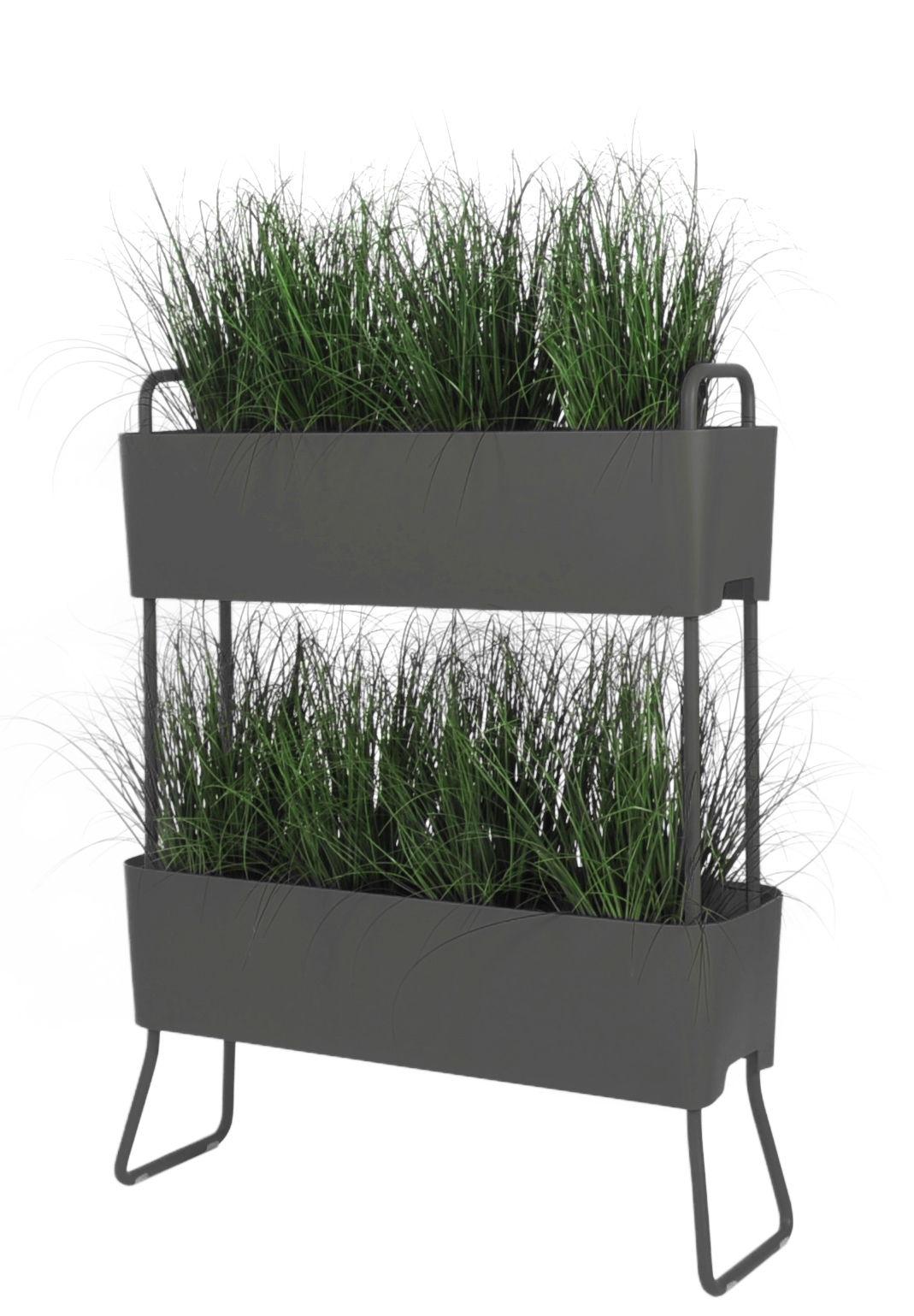 Outdoor - Töpfe und Pflanzen - Greens Duo Blumenkasten / 2er-Set zum Übereinanderstellen - L 100 cm x H 119 cm - Maiori - Anthrazit - Aluminium