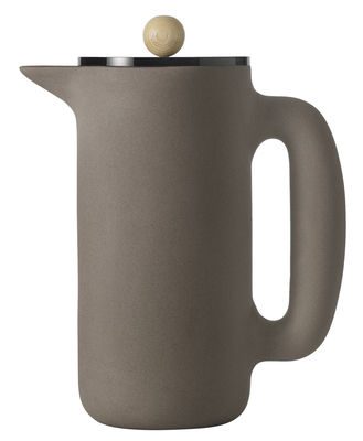 Kitchenware - Coffee Makers - Push Coffee maker - /1L by Muuto - Stone grey - Beechwood, Rubber, Sandstone, Steel