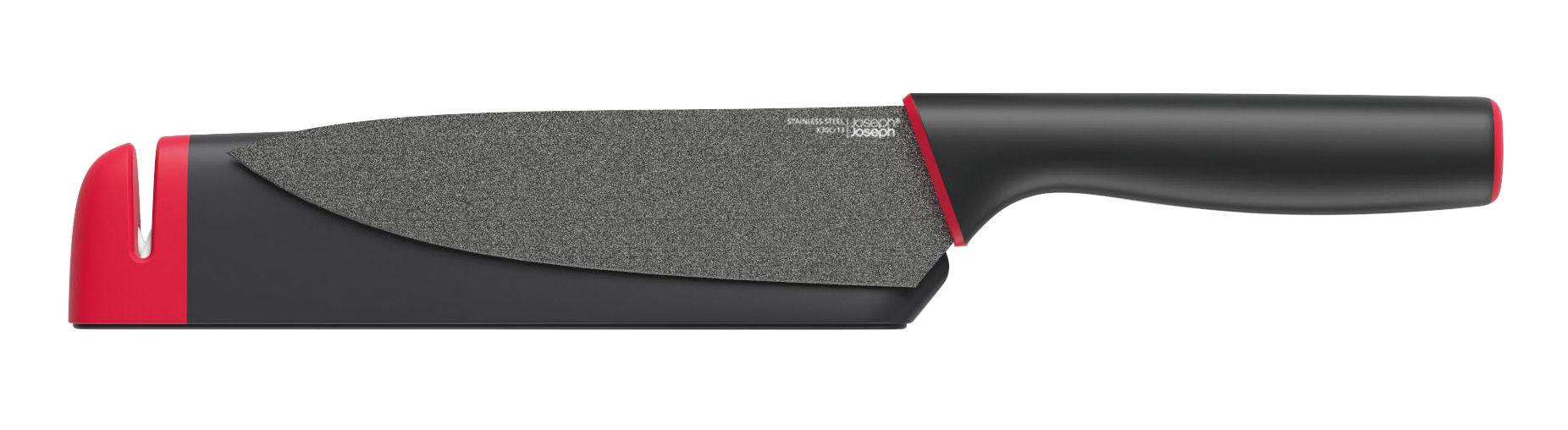 Cuisine - Couteaux de cuisine - Couteau de chef Slice&Sharpen / L 15 cm - Avec étui affûteur - Joseph Joseph - Chef L 15 cm / Noir & rouge - Céramique, Inox revêtu de silicone, Silicone