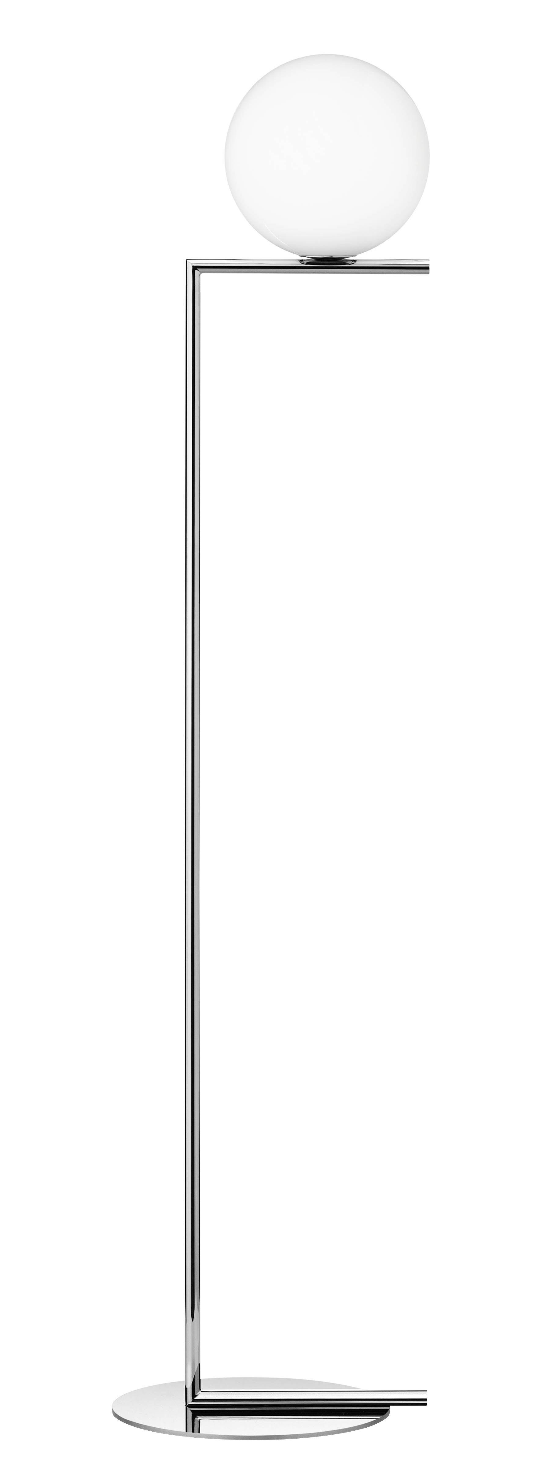 Lighting - Floor lamps - IC F1 Floor lamp - H 135 cm by Flos - Chromed - Blown glass, Chromed steel