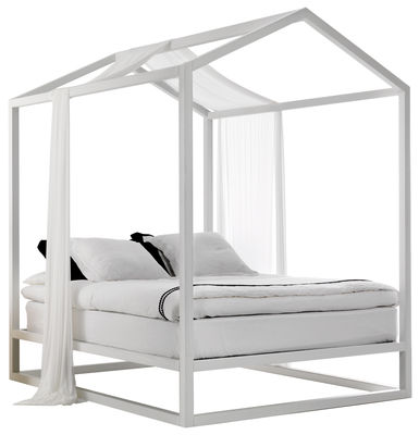 Furniture - Beds - Casetta in Canadá Four-poster bed - / 213 x 173 x H 235 cm by Mogg - White - Ashwood