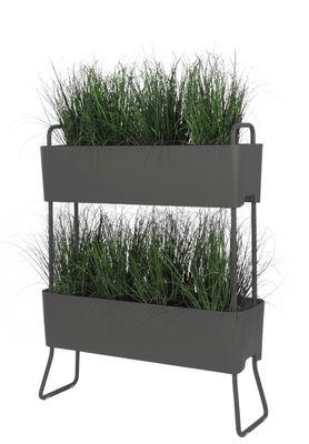 Outdoor - Pots et plantes - Jardinière Greens Duo / Set de 2 à empiler -  L 100 x H 119 cm - Maiori - Gris carbone - Aluminium