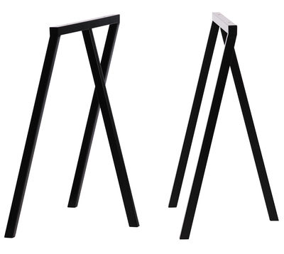 Furniture - Office Furniture - Loop Pair of trestles - Set of 2 by Hay - Black - Lacquered steel