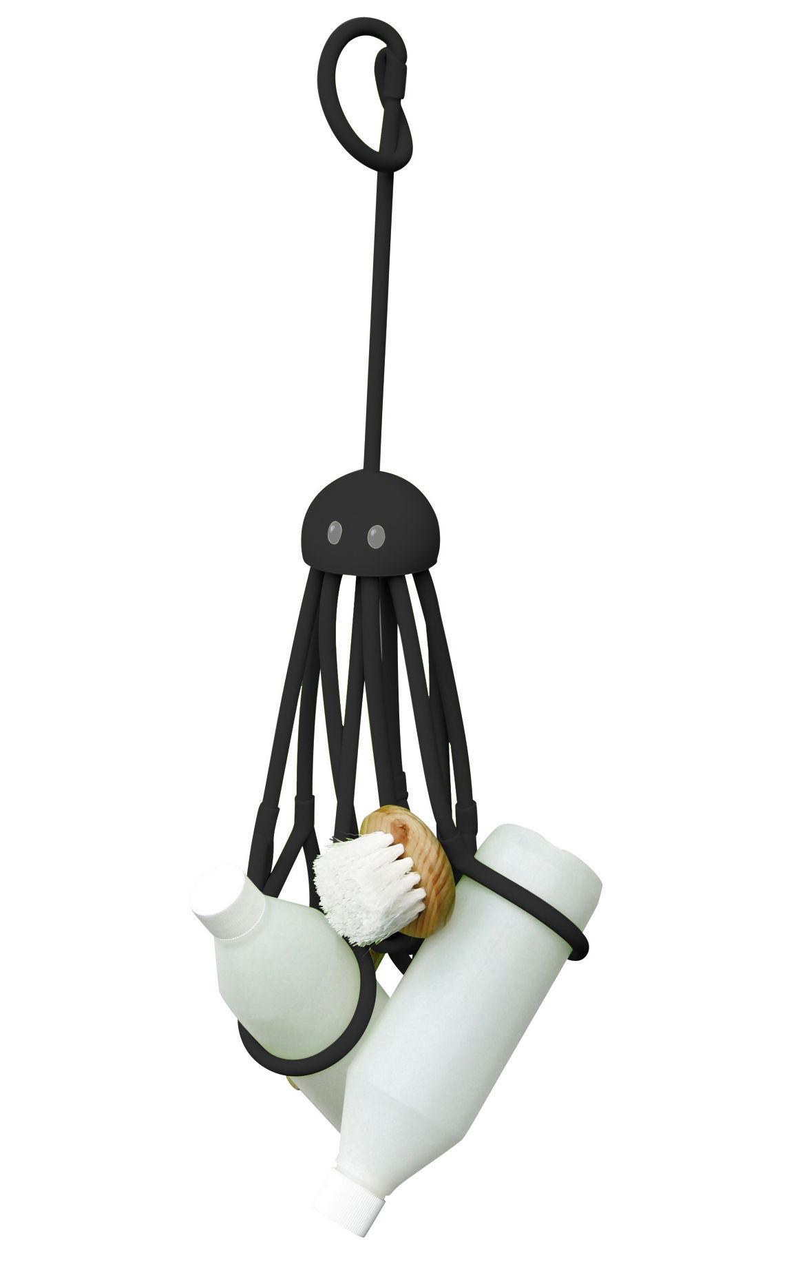 Interni - Bagno  - Portaoggetti Octopus - Piovra per doccia di Pa Design - Nero - Gomma