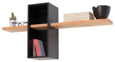 Arredamento - Scaffali e librerie - Scaffale Max - Semplice - 1 scomparto + 1 mensola di Compagnie - Nero - Faggio massello, MDF tinto