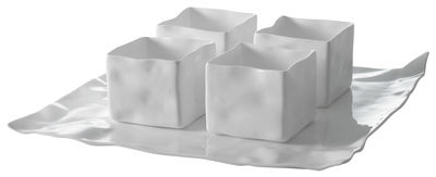 Set vaisselle Adelaïde XII / 1 assiette + 4 ramequins - Driade Kosmo blanc en céramique