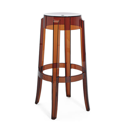 Furniture - Bar Stools - Charles Ghost Stackable bar stool - / H 75 cm - Polycarbonate by Kartell - Amber - Polycarbonate