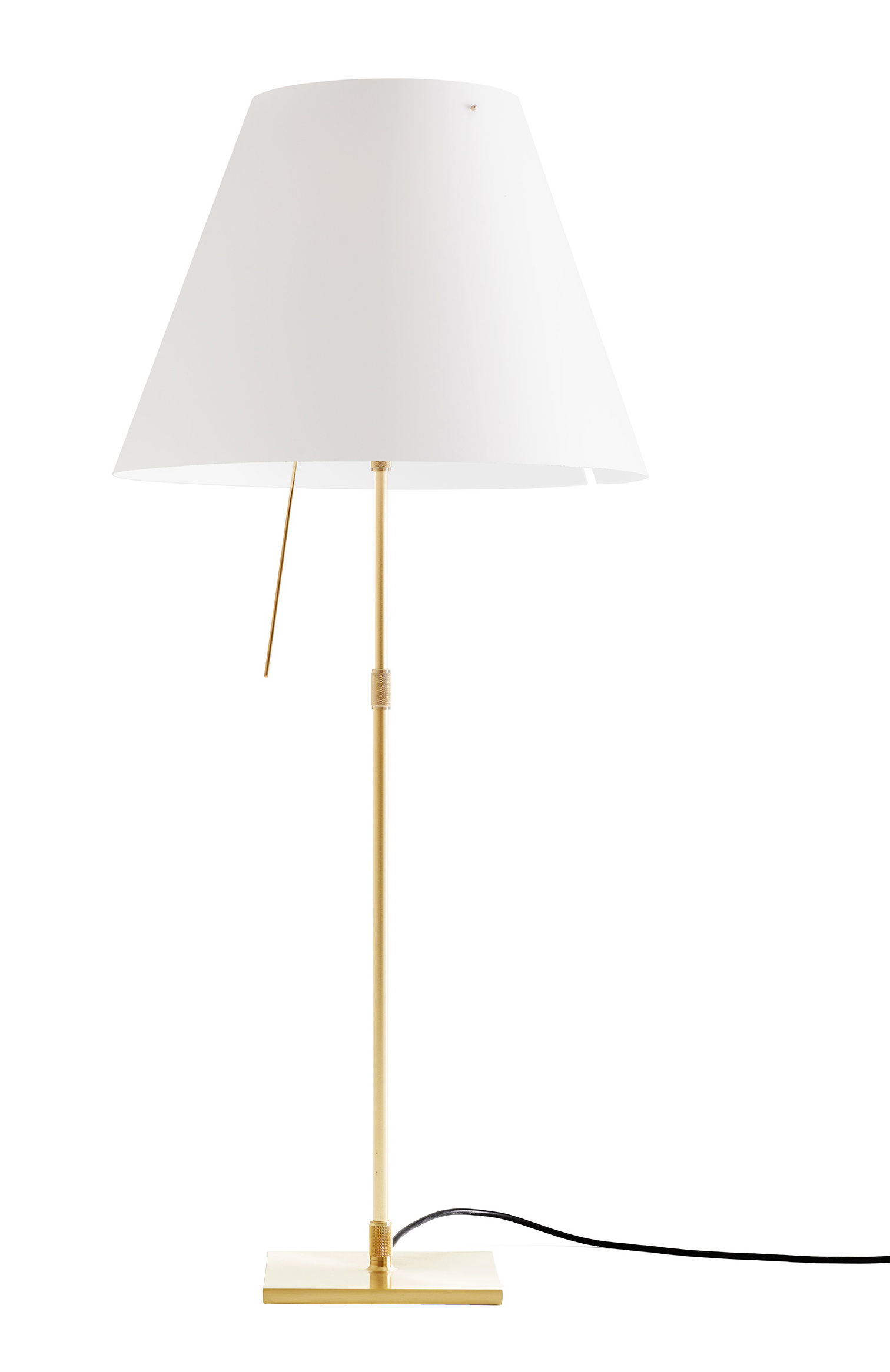 Lighting - Table Lamps - Costanza Table lamp - / H 76 to 110 cm by Luceplan - White /Brass base - Painted aluminium, Polycarbonate