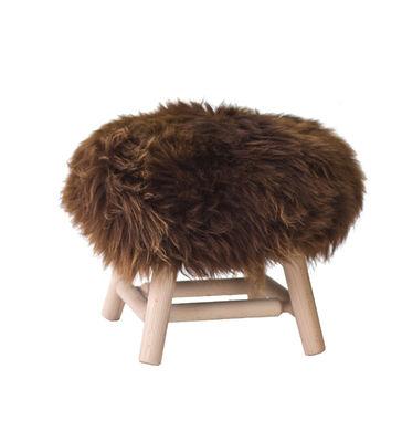Mobilier - Tabourets bas - Tabouret Moumoute Small / H 27 cm - Peau de mouton véritable & Bois - FAB design - Poils courts / Marron - Hêtre non traité, Laine de mouton véritable